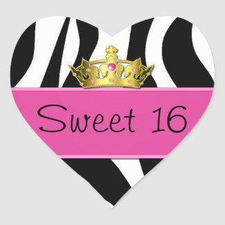 Sweet 16 Zebra Print Sticker