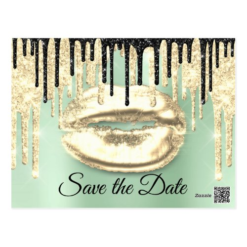 Sweet 16th Bridal Quinceanera Drips Mint Gold Postcard