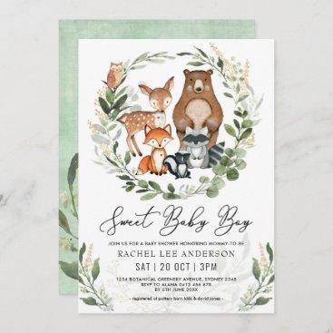 Sweet Baby Boy Woodland Greenery Animals Shower Invitation