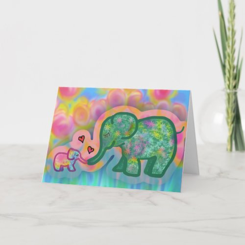 Sweet baby mama elephant love card