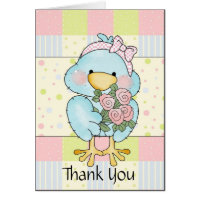 Sweet Blue Chick Baby Thank You Card