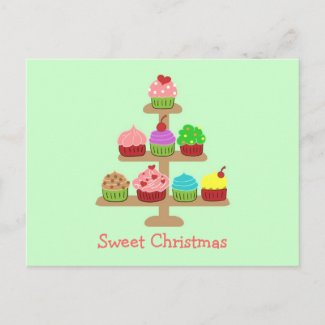 Sweet Cupcakes Christmas Cards Post Card