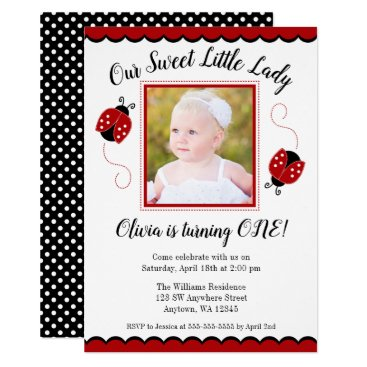 Sweet Ladybug Red Black Photo Birthday Invitations