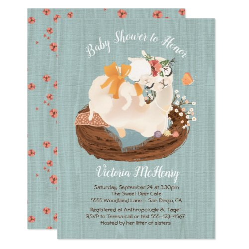 Sweet llama and Momma Baby shower Invitations