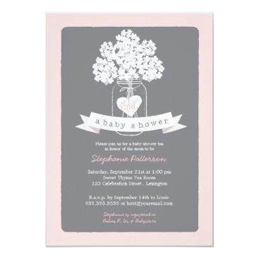 Sweet Mason Jar Pink | Gray Baby Shower Invitation