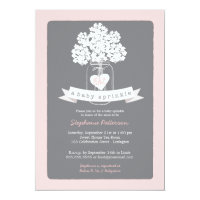 Sweet Mason Jar Pink | Gray Baby Sprinkle 5x7 Paper Invitation Card