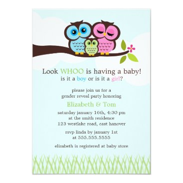 Sweet Owls Gender Reveal Party Invitation