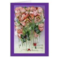 Sweet Peas and Butterflies Vintage Easter Card