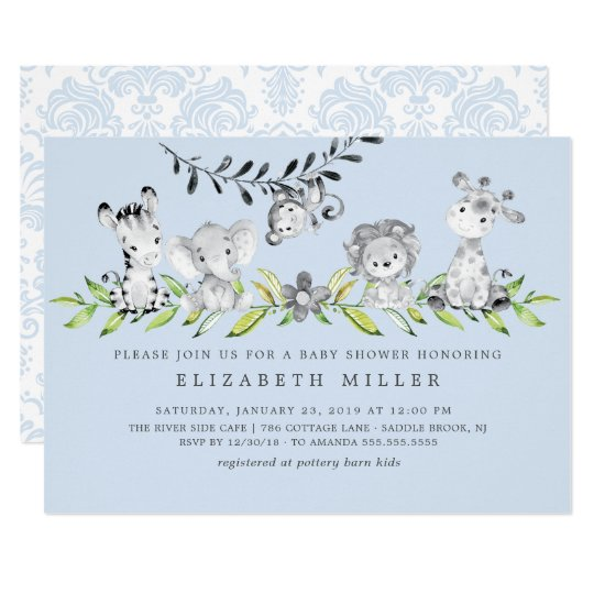 Sweet Safari Animals Boy Baby Shower Invitation