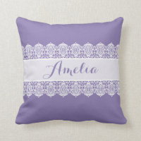 Sweet Script - Soft Purple Lace Monogram Pillows