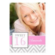 SWEET SIXTEEN GIRLY PINK GRAY CHEVRON PATTERN INVITATION