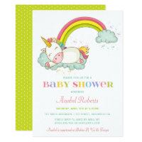 Sweet Unicorn Baby Shower Invitation Rainbow