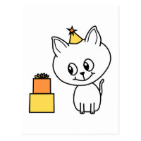 Sweet White Kitten Wearing a Birthday Hat. Postcard