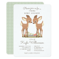 Sweet Woodland Deer Twin Baby Shower Invitation