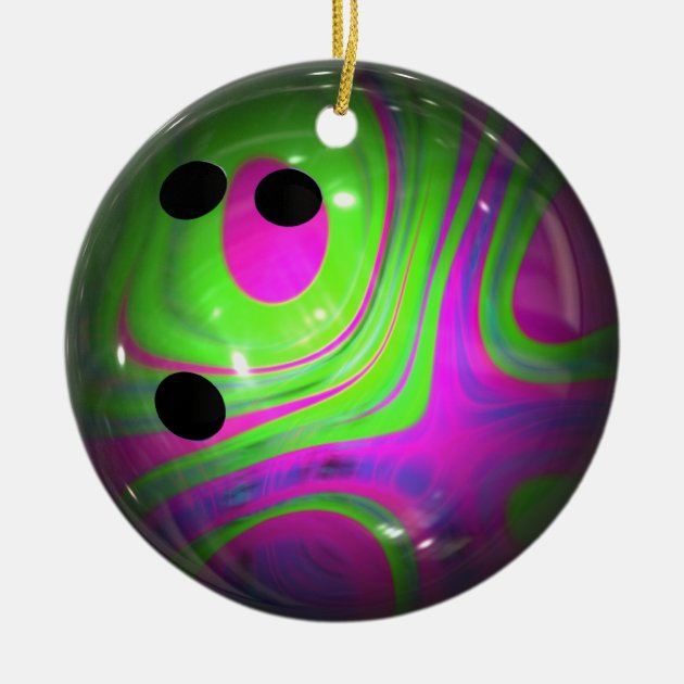 Swirl Colors Bowling Ball Ceramic Ornament