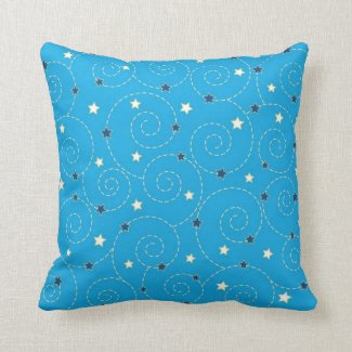 Swirls stars blue pillow