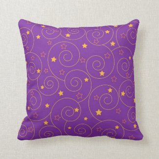Swirls stars purple throw pillow
