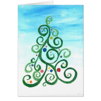 Swirly Christmas Tree Cards