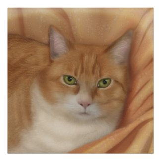 Tabby Cat in a Blanket Poster
