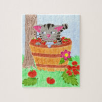 Tabby cat in an apple basket puzzle