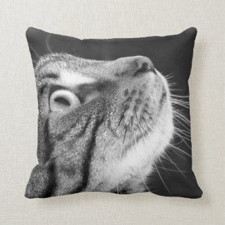 Tabby Cat in Profile Pillow Throw Pillows