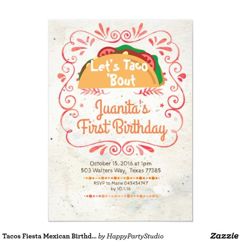 Tacos Fiesta Mexican Birthday Party Invitation