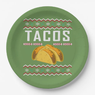 Tacos Ugly Christmas Sweater Paper Plate