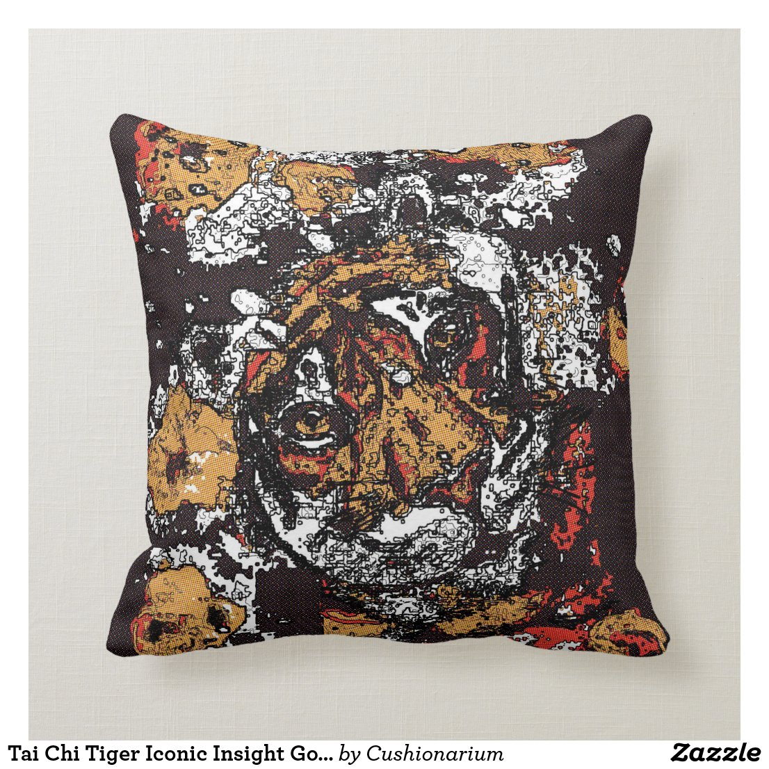 Tai Chi Tiger Iconic Insight Golden Browns Throw Pillow