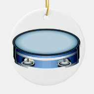 Tambourine Graphic Side View Blue Musicial Design Christmas Ornament