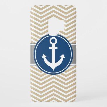 Tan Beige Nautical Anchor Chevron Case-Mate Samsung Galaxy S9 Case