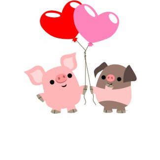 Tangled Hearts (Cartoon Pigs) children T-shirt shirt