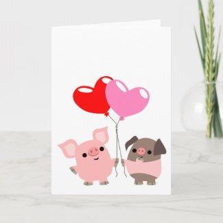 Tangled Hearts (Cartoon Pigs) greeting card card