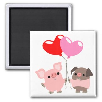 Tangled Hearts (Cartoon Pigs) Magnet magnet