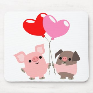Tangled Hearts (Cartoon Pigs) mousepad mousepad