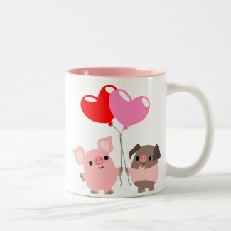 Tangled Hearts (Cartoon Pigs) Mug mug