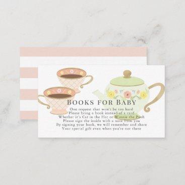 Tea Pot & Cups Tea Party Baby Shower Book Request Enclosure Card