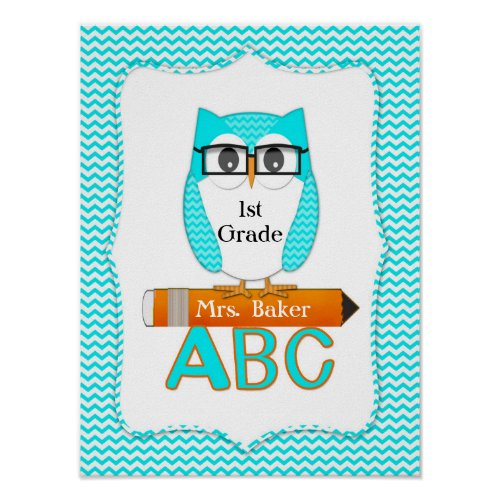Teacher Owl Chevron Teal Poster