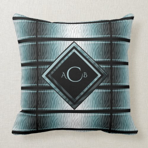 Teal and Black Zebra Monogram Throw Pillow