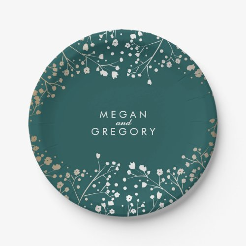Teal and Gold Baby&#39&#x3B;s Breath Wedding Paper Plate