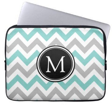 Teal and Gray Chevron Pattern with Monogram Laptop Sleeve
