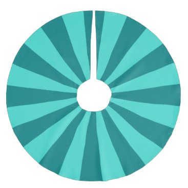 Teal and Turquoise Starburst Stripes Brushed Polyester Tree Skirt