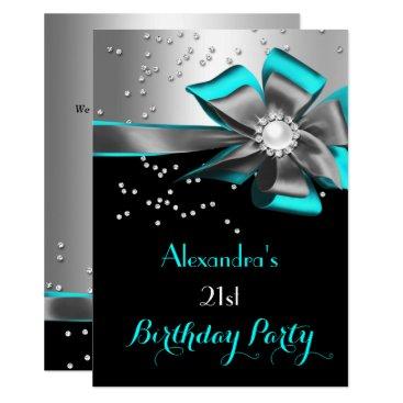Teal Aqua Black Silver Bow Pearl Birthday Party Card