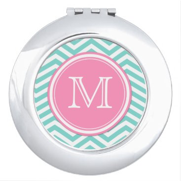 Teal Blue and White Chevron with Monogram Makeup Mirror