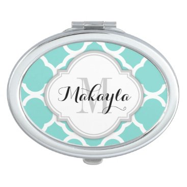 Teal Blue and White quatrefoil with Monogram Mirror For Makeup