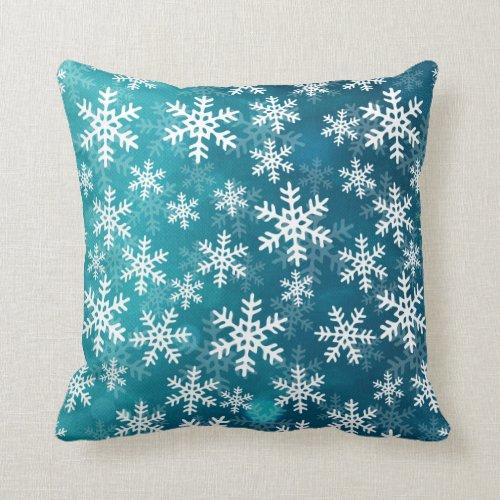 Teal Blue and White Snowflakes Throw Pillow