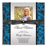 Teal Blue Black Damask Photo Sweet 16 Party Invitation