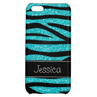 Teal Blue Faux Glitter Zebra Personalized Cover For iPhone 5C