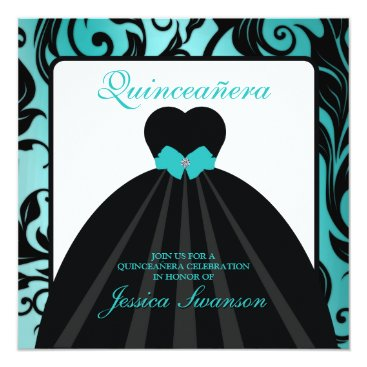 Teal Blue Formal Gown Quinceañera w/ diamond bow Card