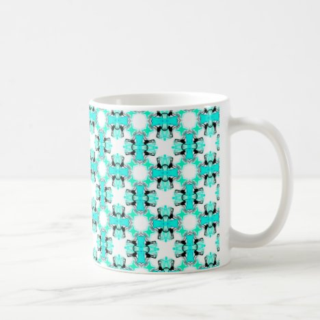 Teal Blue Green Stars Abstract Modern Pattern Coffee Mug