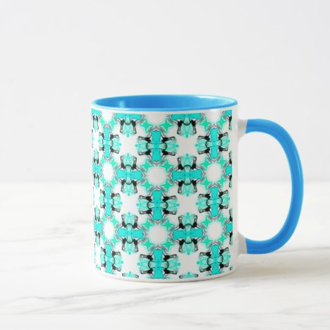 Teal Blue Green Stars Abstract Modern Pattern Mug